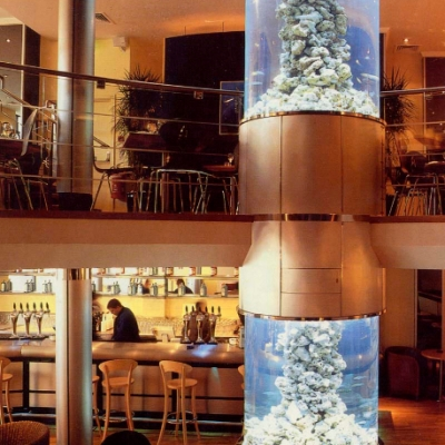 Restaurant aquarium display over two floors