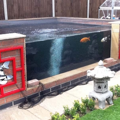 Custom built glazed Koy carp pond